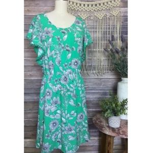 A New Day Sleeveless Floral Green Tropical Dress
